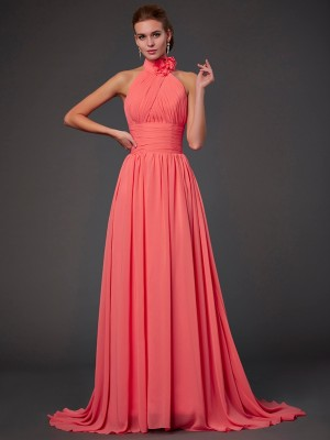 A-Line/Princess Halter Sleeveless Chiffon Hand-Made Flower Sweep/Brush Train Bridesmaid Dresses