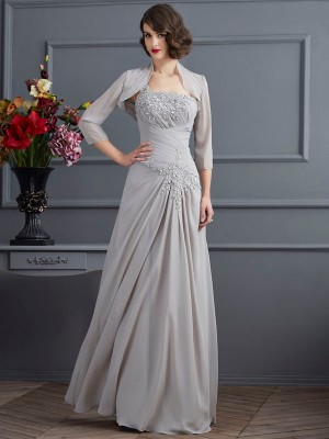 One-Shoulder A-Line/Princess Chiffon Sleeveless With Beading Long Mother of the Bride Dresses