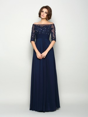 Off-the-Shoulder A-Line/Princess With Beading 1/2 Sleeves Long Chiffon Mother of the Bride Dresses