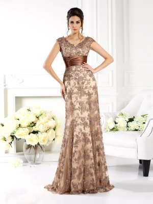 A-Line/Princess V-neck Satin With Ruffles Sleeveless Sweep/Brush Train Mother of the Bride Dresses