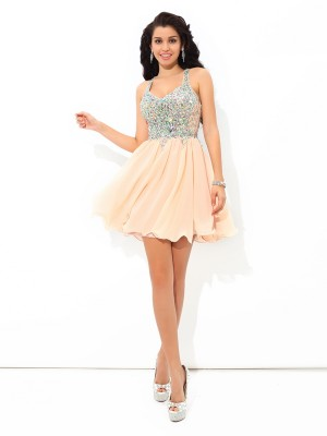 A-Line/Princess Straps Sleeveless Short Chiffon Cocktail Dresses With Rhinestone