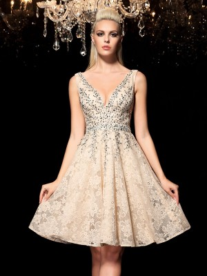 A-Line/Princess V-neck Sleeveless Lace Short/Mini Dresses With Beading