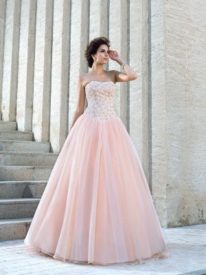 Ball Gown Strapless Sleeveless Long Satin Wedding Dresses With Beading