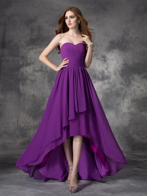Sweetheart A-line/Princess Sleeveless High Low Chiffon Bridesmaid Dresses With Ruffles