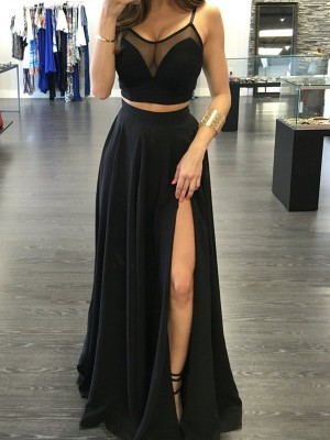 Floor-Length A-Line/Princess Spaghetti Straps Sleeveless Chiffon Two Piece Dresses
