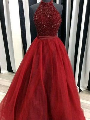 Fabulous Ball Gown High Neck Sleeveless Floor-Length Organza Dresses With Beading