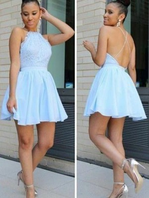 Attractive A-Line/Princess Halter Sleeveless Lace Short/Mini Chiffon Dresses