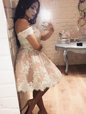 Off-the-Shoulder A-Line/Princess Sleeveless Lace Short/Mini Dresses