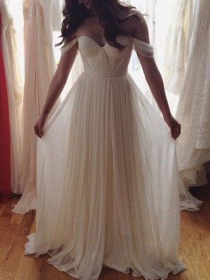 A-Line/Princess Floor-Length Sleeveless Off-the-Shoulder With Beading Chiffon Dresses