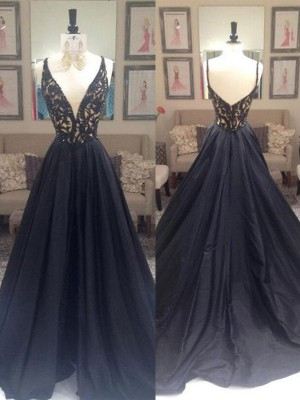 Romantic A-Line/Princess V-neck Sweep/Brush Train Sleeveless Taffeta Dresses