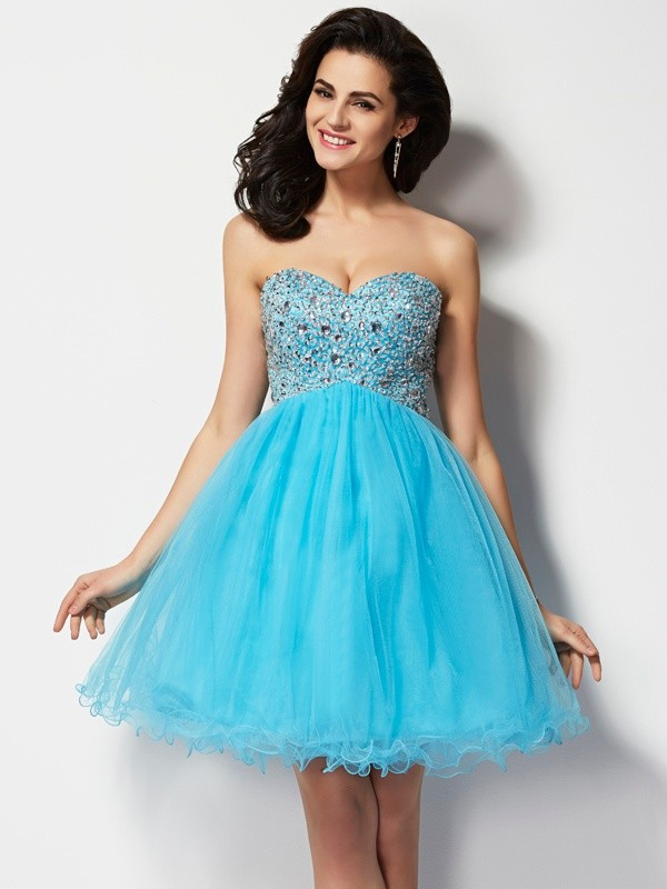 A-Line/Princess Sweetheart Sleeveless Short With Beading Tulle Dresses