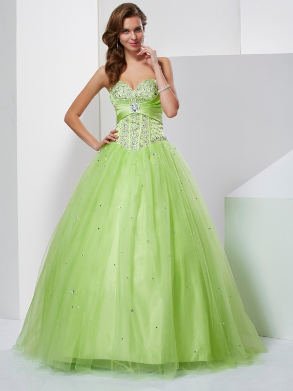 Ball Gown Sweetheart Tulle With Beading Sleeveless Long Dresses