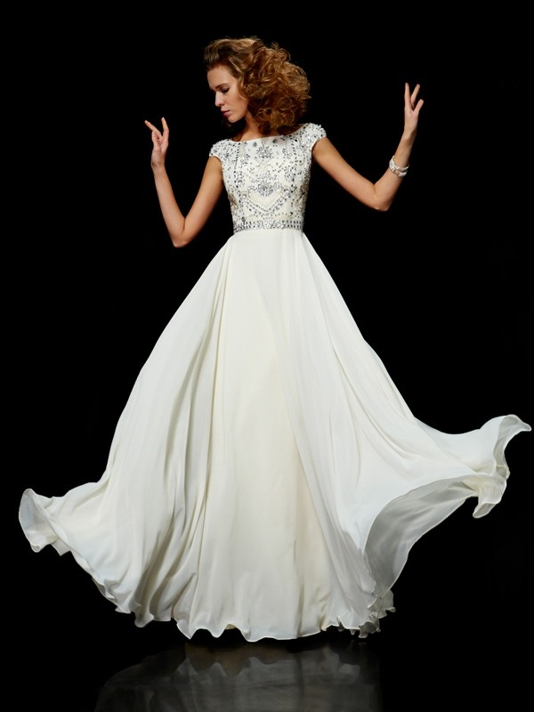 Glorious Ball Gown High Neck Floor-Length Short Sleeves With Beading Chiffon Dresses