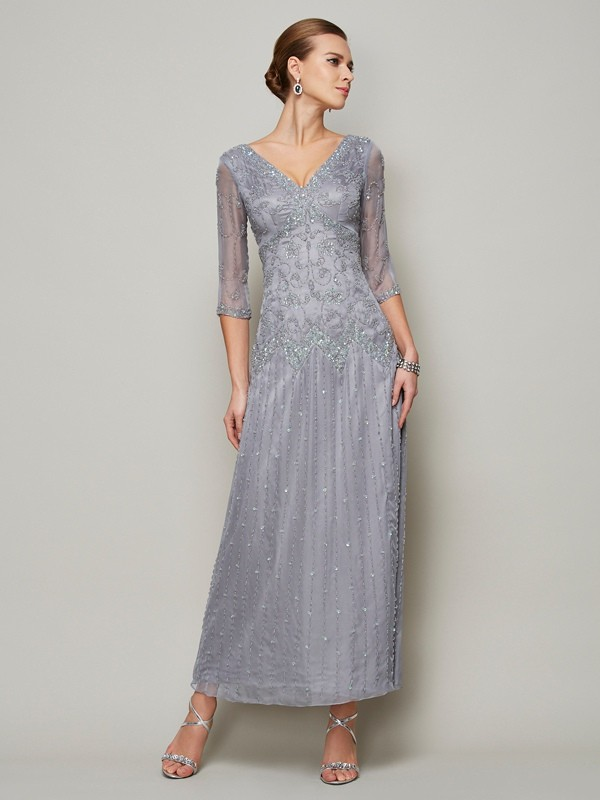 Sheath/Column V-neck Elastic Woven Satin 1/2 Sleeves With Beading Long Mother of the Bride Dresses