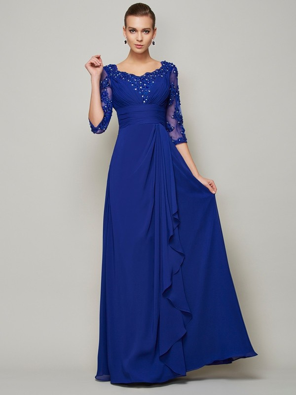 A-Line/Princess Lace Scoop 3/4 Sleeves Long Chiffon Mother of the Bride Dresses
