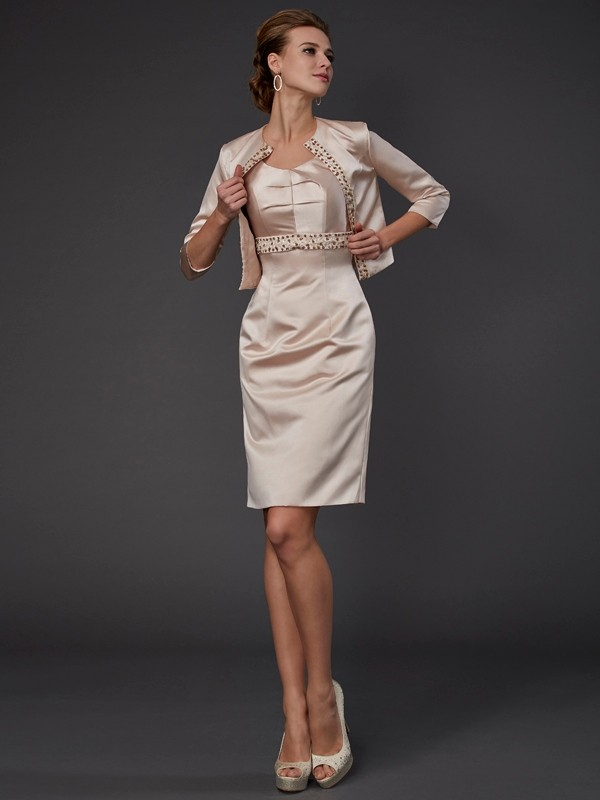 Satin Sheath/Column Square Sleeveless With Beading Short Mother of the Bride Dresses