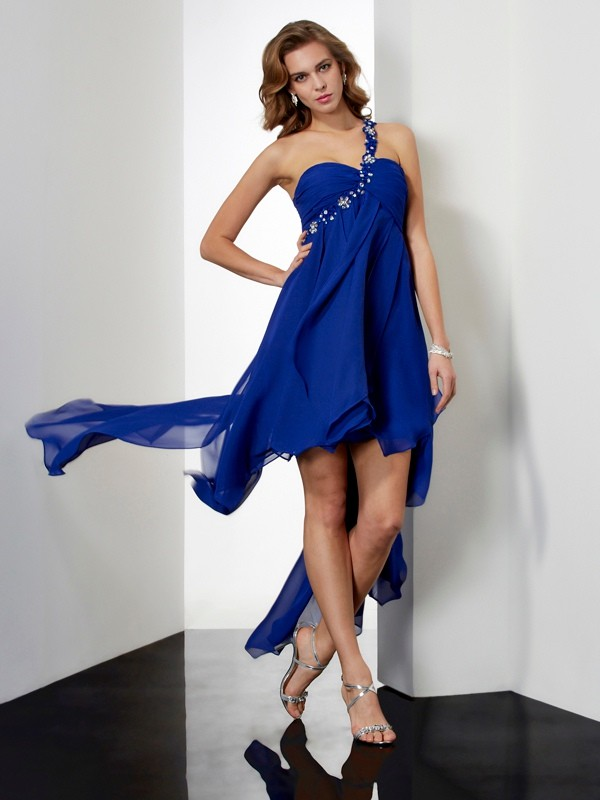 A-Line/Princess One-Shoulder Sleeveless With Beading High Low Chiffon Dresses