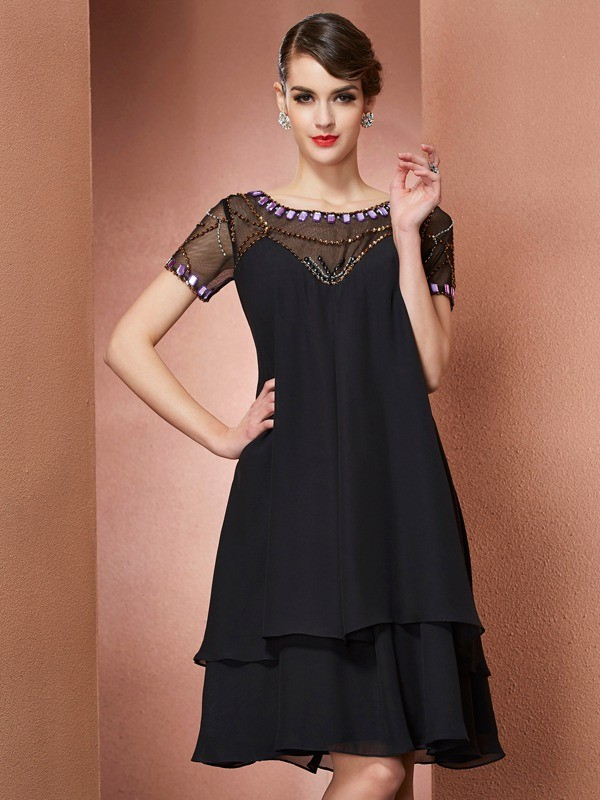 A-Line/Princess Scoop Chiffon Short Sleeves With Beading Short Mother of the Bride Dresses