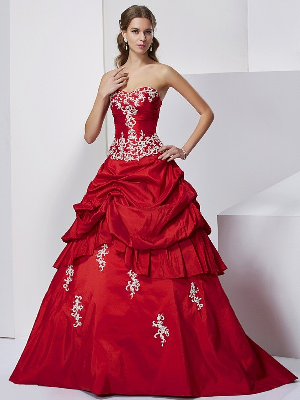 Ball Gown Sweetheart Taffeta Sleeveless With Beading Applique Long Dresses
