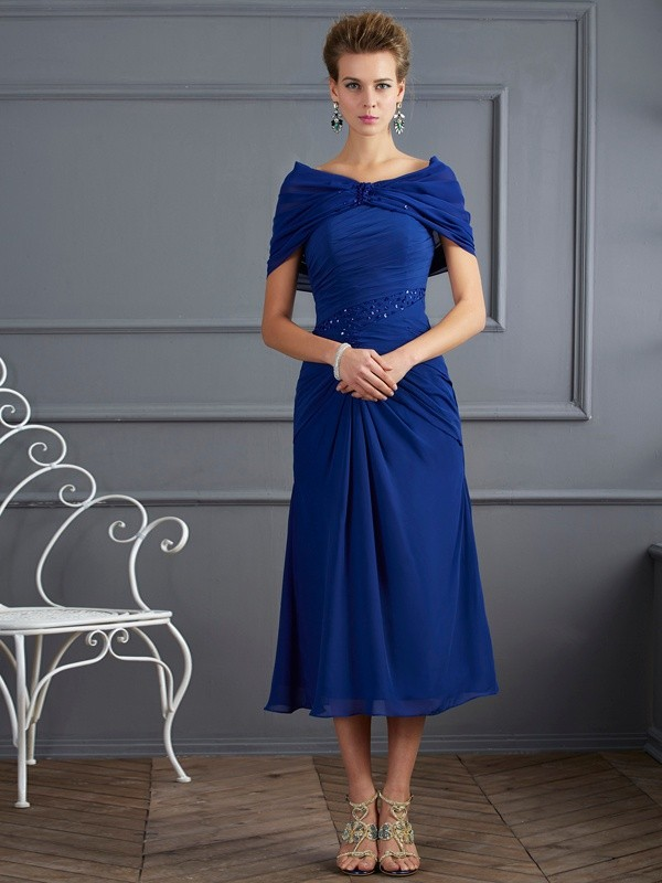 Sheath/Column Scoop Chiffon Short Sleeves With Beading Short Mother of the Bride Dresses