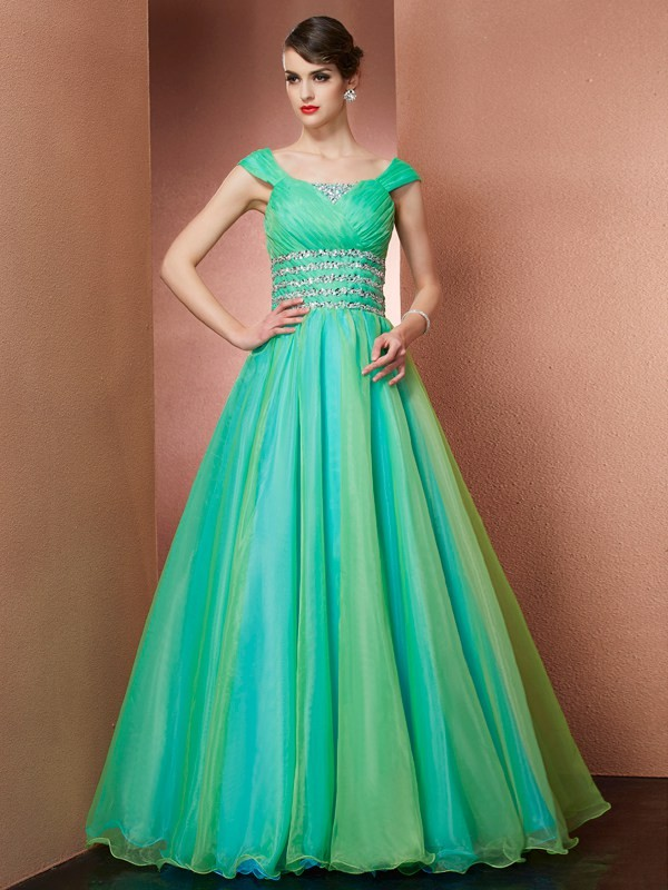 Ball Gown Off-the-Shoulder Satin Sleeveless With Beading Long Dresses
