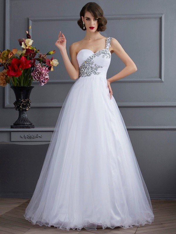 Ball Gown One-Shoulder Sleeveless Elastic Woven Satin With Beading Long Dresses