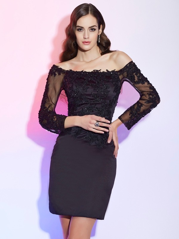 Sheath/Column Off-the-Shoulder Satin Long Sleeves With Applique Short Mother of the Bride Dresses