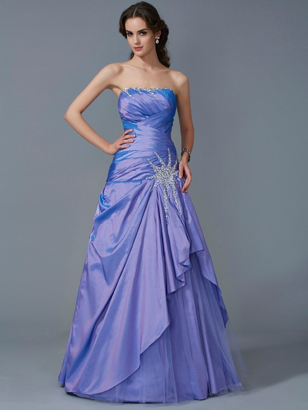 Ball Gown Strapless Sleeveless Long Taffeta Quinceanera Dresses With Beading