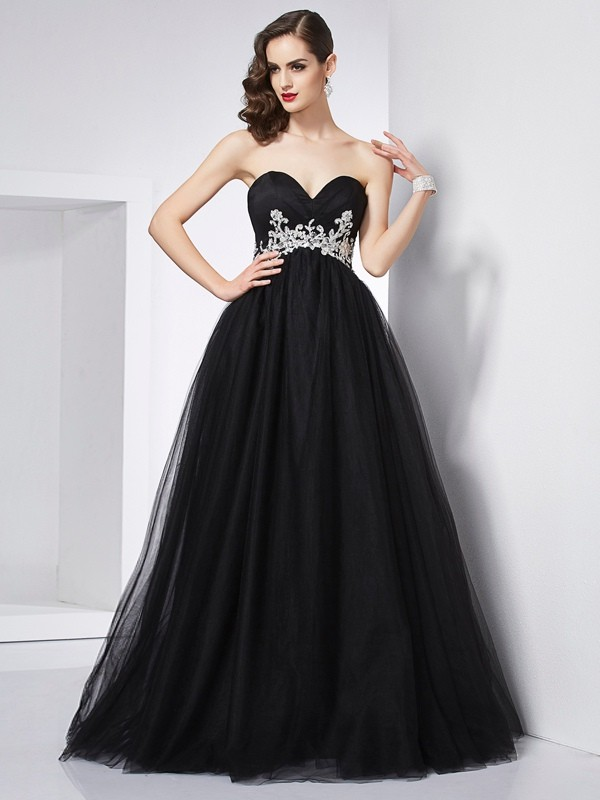 Ball Gown Sweetheart Sleeveless With Applique Long Net Quinceanera Dresses