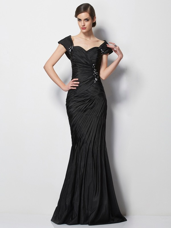 Trumpet/Mermaid Sweetheart Taffeta Short Sleeves With Beading Long Mother of the Bride Dresses