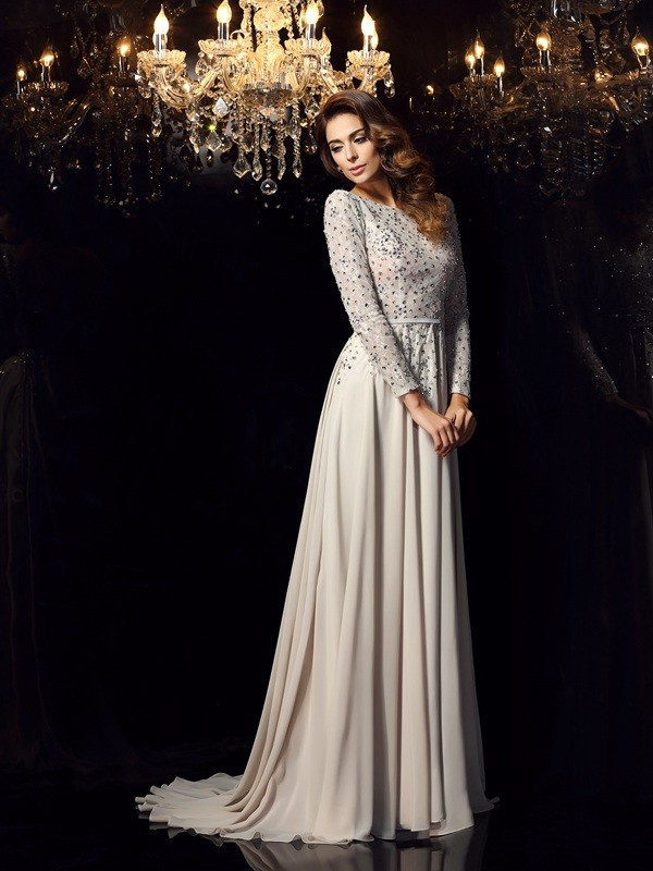 A-Line/Princess Scoop With Beading Long Sleeves Long Chiffon Dresses