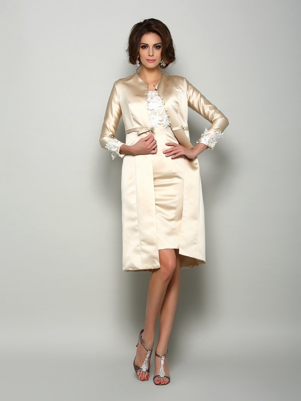 Sheath/Column Square Satin Short Sleeves Short Mother of the Bride Dresses With Applique