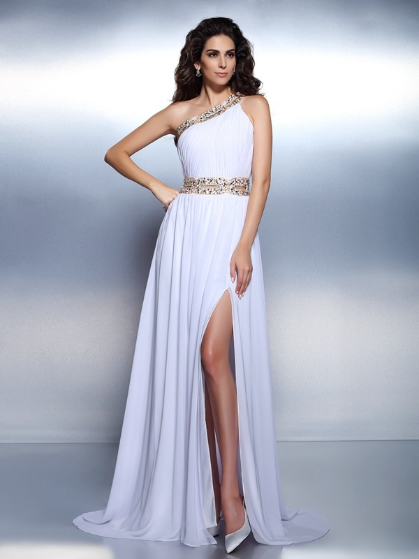 One-Shoulder A-Line/Princess Sleeveless Long Chiffon Dresses With Beading