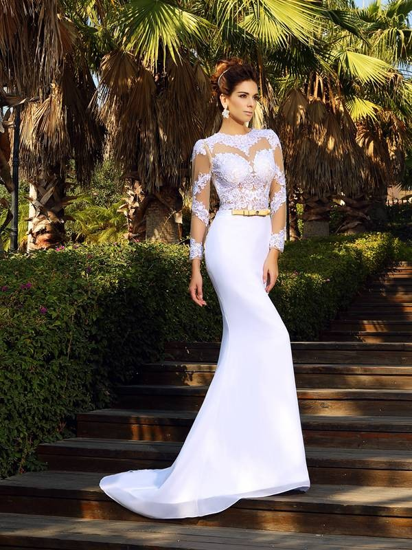 Sheath/Column Scoop Applique Long Sleeves Satin Court Train Wedding Dresses