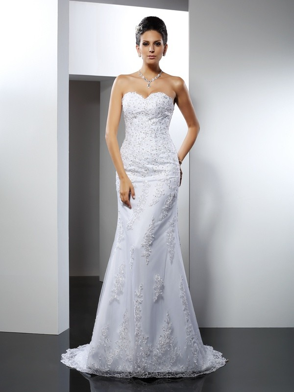 Sweetheart Trumpet/Mermaid Lace Sleeveless Long Satin Wedding Dresses