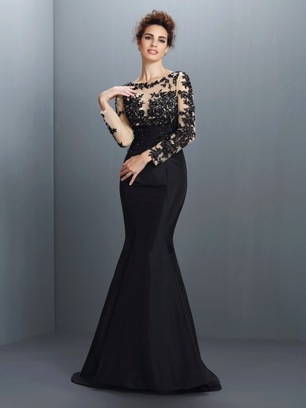 Trumpet/Mermaid Bateau Taffeta With Applique Long Sleeves Long Mother of the Bride Dresses