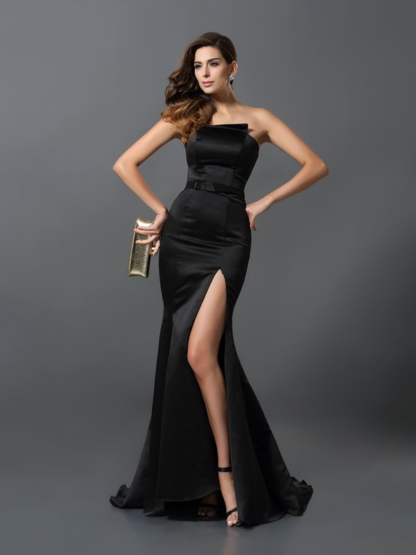Strapless Sheath/Column Sash/Ribbon/Belt Sleeveless Long Satin Dresses