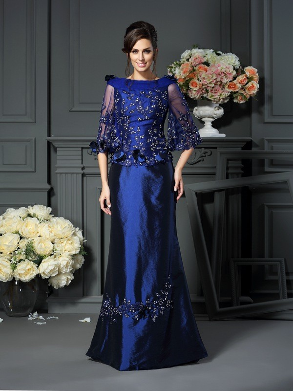A-Line/Princess Scoop Taffeta With Beading 1/2 Sleeves Long Mother of the Bride Dresses