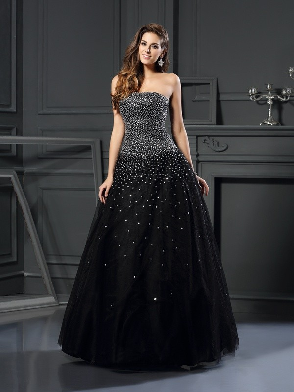 Ball Gown Strapless Satin With Beading Sleeveless Long Quinceanera Dresses