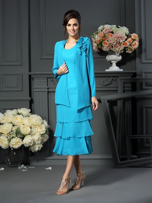 A-Line/Princess Scoop Chiffon Sleeveless Short Mother of the Bride Dresses