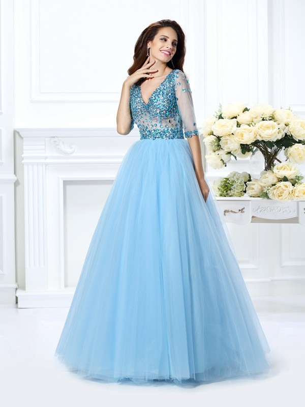 Ball Gown V-neck Satin With Beading 1/2 Sleeves Long Quinceanera Dresses