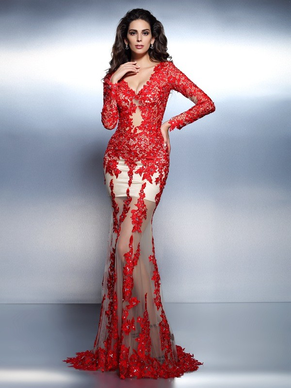 Trumpet/Mermaid V-neck Lace With Applique Long Sleeves Long Dresses