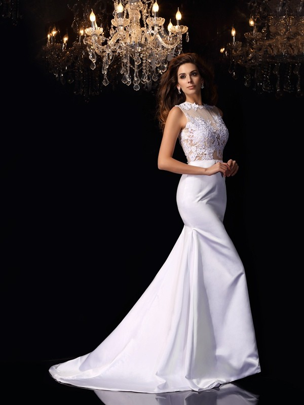 Trumpet/Mermaid High Neck Sleeveless Long Satin Wedding Dresses With Applique