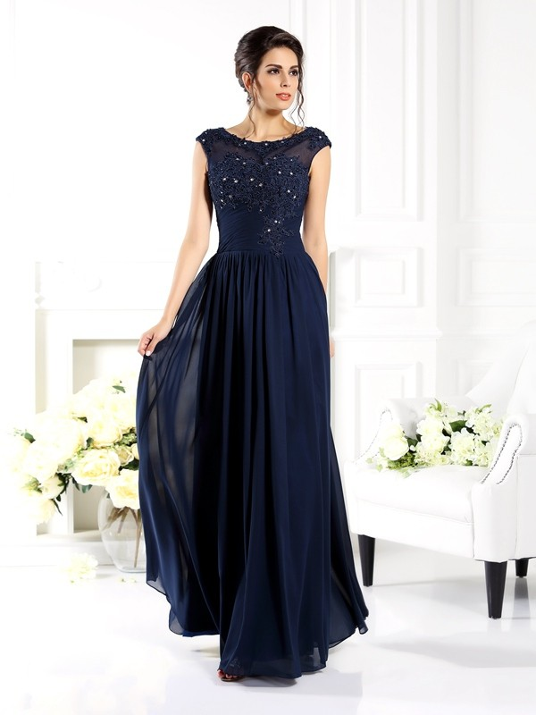 A-Line/Princess Scoop With Beading Sleeveless Chiffon Long Mother of the Bride Dresses