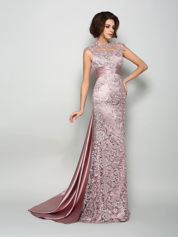 Stunning A-Line/Princess High Neck Elastic Woven Satin Sleeveless Long Mother of the Bride Dresses