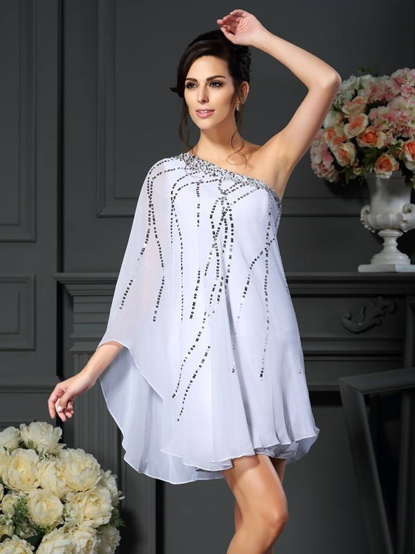One-Shoulder A-Line/Princess Sequin Sleeveless Short Chiffon Mother of the Bride Dresses
