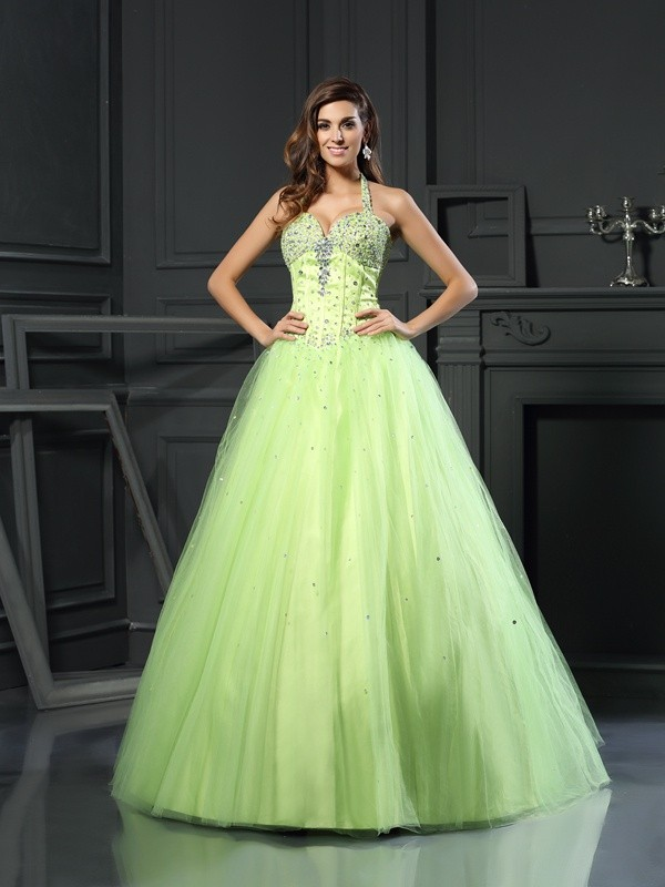 Ball Gown Halter Satin Sleeveless Long Quinceanera Dresses With Beading