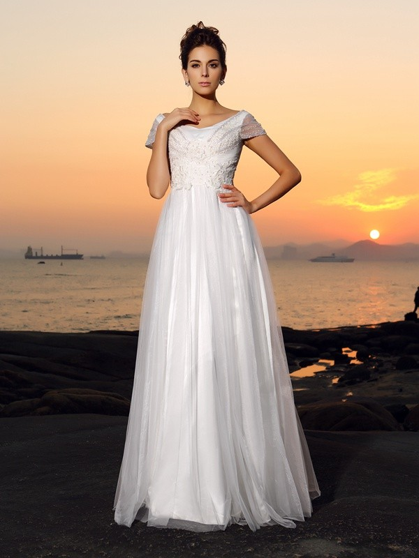 Off-the-Shoulder A-Line/Princess Short Sleeves Long Tulle Beach Wedding Dresses With Beading
