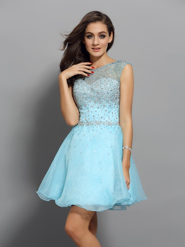 A-Line/Princess Scoop Organza Sleeveless Short Cocktail Dresses With Beading