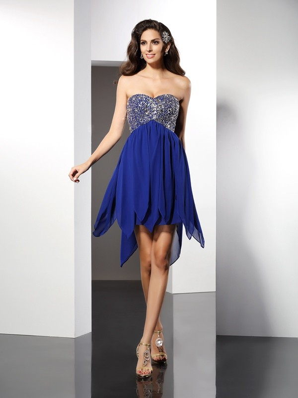 Sweetheart A-Line/Princess Sleeveless Short Chiffon Dresses With Beading